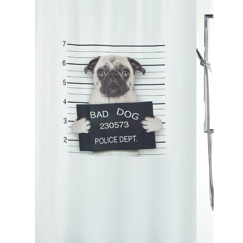 Κουρτίνα Μπάνιου Bad Dog 02012.001 Beige 180X200 cm Spirella Φάρδος 180cm 180x200cm