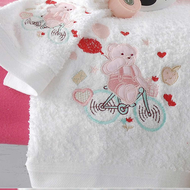 Πετσέτες Παιδικές Σετ My Bike White – Pink Ρυθμός 2τμχ Σετ Πετσέτες