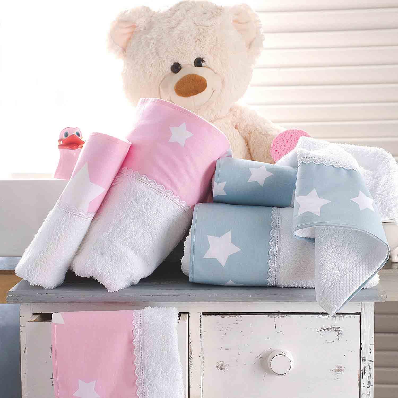 Πετσέτες Παιδικές Σετ Stardust White – Pink Ρυθμός 2τμχ Σετ Πετσέτες