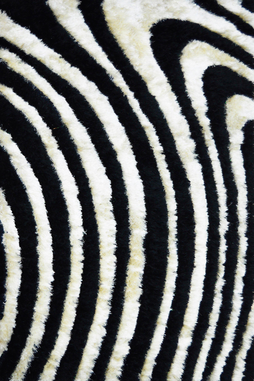 Χαλί Aslanis Xeipoπoihto Waves Black-White 160X230