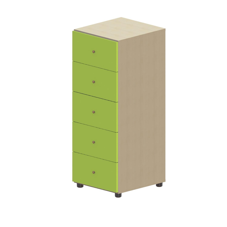 Συρταριέρα Παιδική Child 5 Oak Natural-Light Green 45X48X114 cm