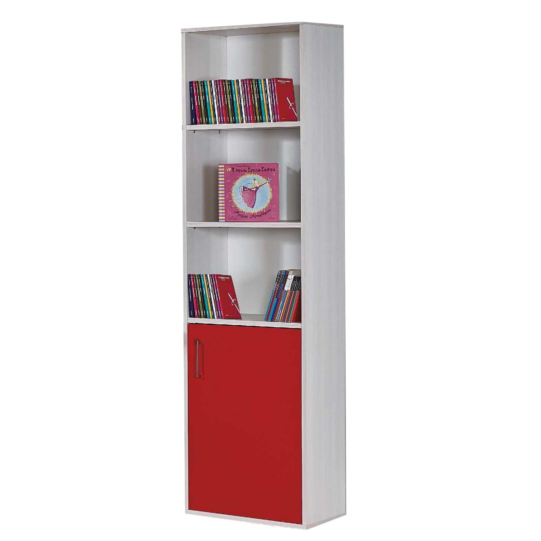 Βιβλιοθήκη Παιδική Lilalo Light Grey-Red 50X32X187 cm